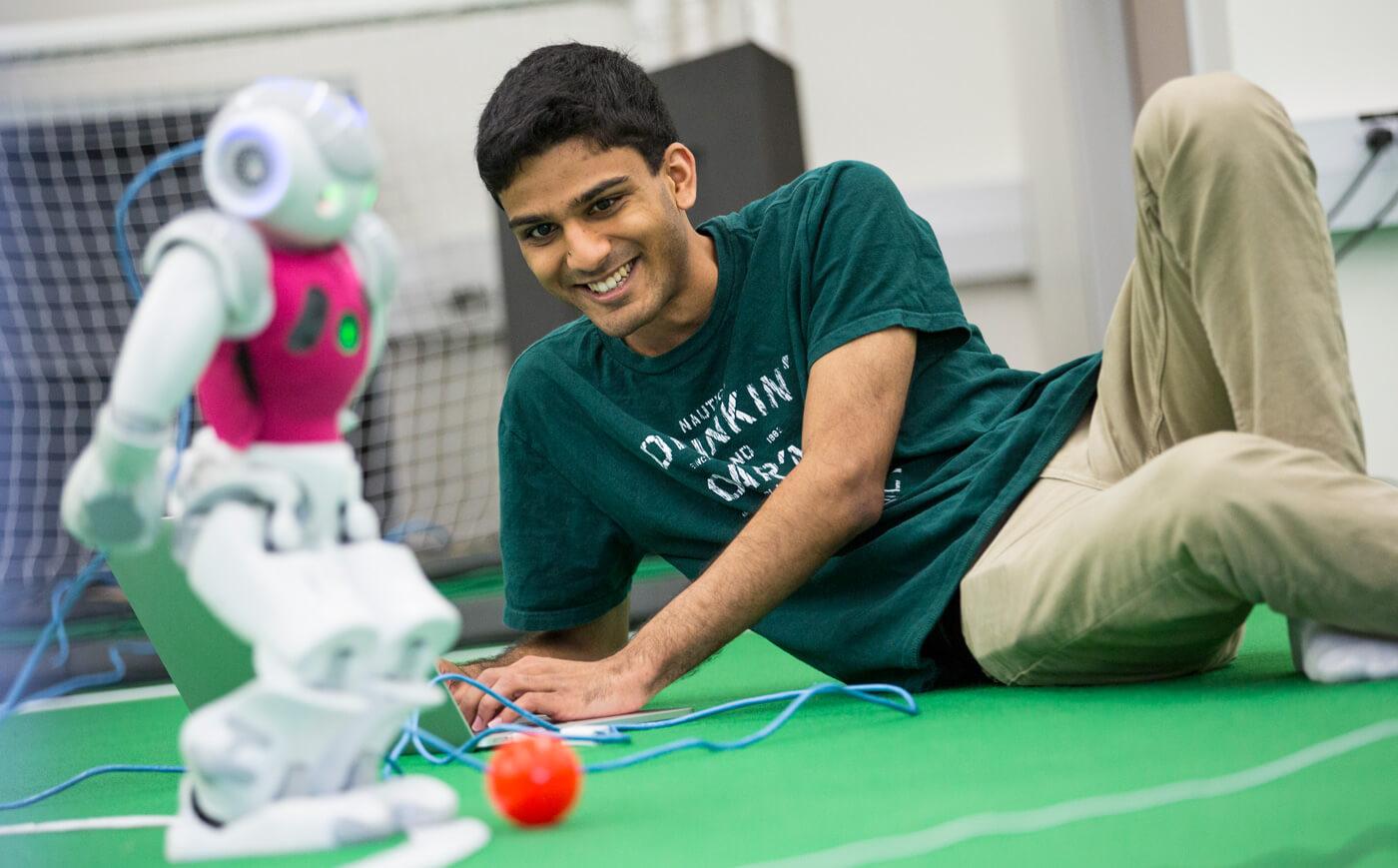 Student doing robotics
